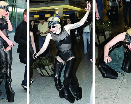 Lady Gaga loves dangerous shoes… but then she falls!