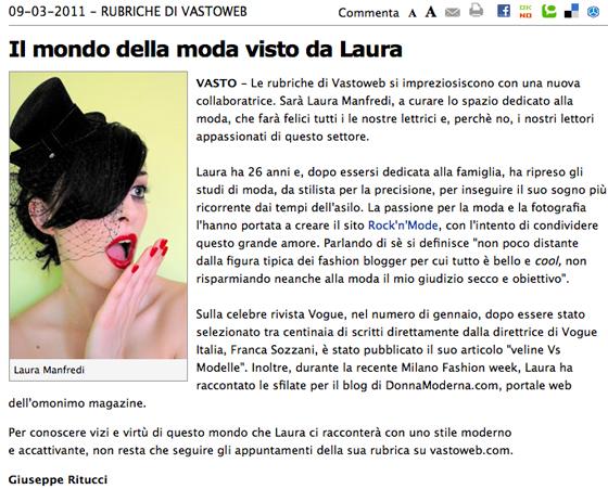 Nuova rubrica di moda su vastoweb
