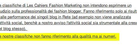 Classifica dei fashion blog più seguiti di LesCahiers: perché non è affidabile