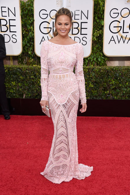 Golden Globe Awards 2015, Golden Globes 2015, Chrisy Teigen in Zuhair Muhad,