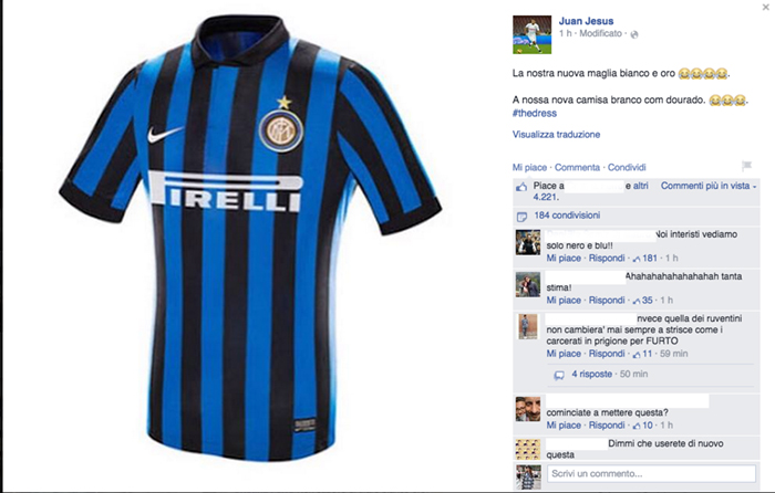Juan Jesus Inter, #TheDress: i geni del marketing (e non solo) sempre sul pezzo, #thedress, brand #thedress, meme #thedress, white and gold, black and blue, #whiteandgold #blackandblue,