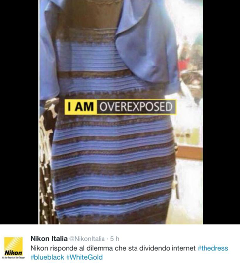 Nikon, #TheDress: i geni del marketing (e non solo) sempre sul pezzo, #thedress, brand #thedress, meme #thedress, white and gold, black and blue, #whiteandgold #blackandblue,