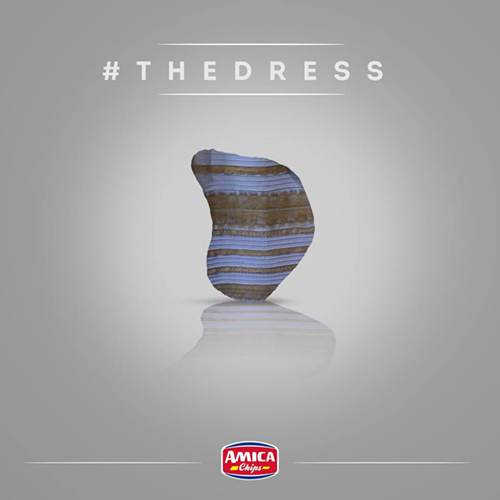 Amica chips, #TheDress: i geni del marketing (e non solo) sempre sul pezzo, #thedress, brand #thedress, meme #thedress, white and gold, black and blue, #whiteandgold #blackandblue,