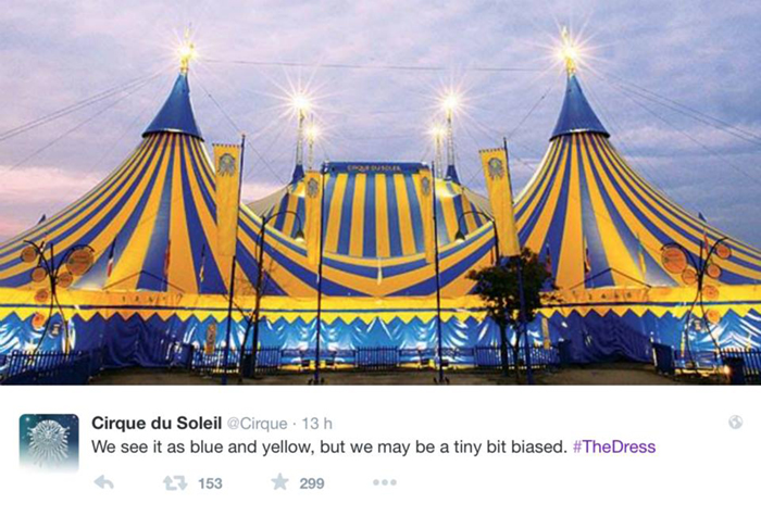 #TheDress: i geni del marketing (e non solo) sempre sul pezzo, #thedress, brand #thedress, meme #thedress, white and gold, black and blue, #whiteandgold #blackandblue, cirque du soleil