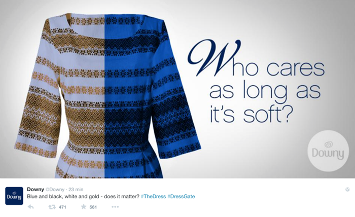Downi, #TheDress: i geni del marketing (e non solo) sempre sul pezzo, #thedress, brand #thedress, meme #thedress, white and gold, black and blue, #whiteandgold #blackandblue,
