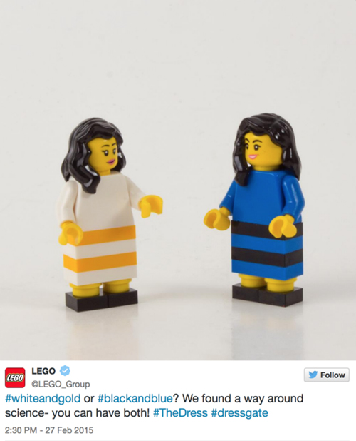 Lego, #TheDress: i geni del marketing (e non solo) sempre sul pezzo, #thedress, brand #thedress, meme #thedress, white and gold, black and blue, #whiteandgold #blackandblue,