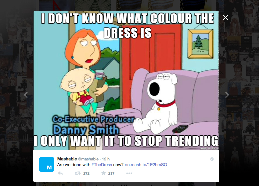 #TheDress: i geni del marketing (e non solo) sempre sul pezzo, #thedress, brand #thedress, meme #thedress, white and gold, black and blue, #whiteandgold #blackandblue, Griffin, Mashable