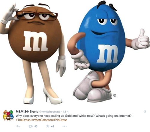 M&M's, #TheDress: i geni del marketing (e non solo) sempre sul pezzo, #thedress, brand #thedress, meme #thedress, white and gold, black and blue, #whiteandgold #blackandblue,