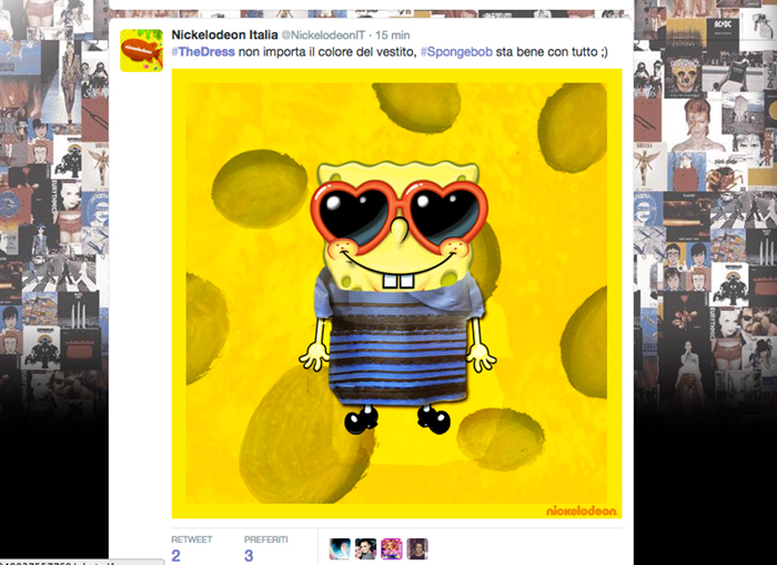 Nickelodeon, spongebob, #TheDress: i geni del marketing (e non solo) sempre sul pezzo, #thedress, brand #thedress, meme #thedress, white and gold, black and blue, #whiteandgold #blackandblue,