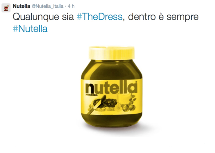 Nutella, #TheDress: i geni del marketing (e non solo) sempre sul pezzo, #thedress, brand #thedress, meme #thedress, white and gold, black and blue, #whiteandgold #blackandblue,