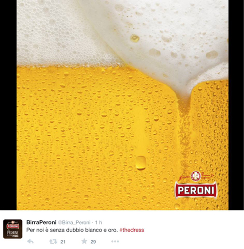 Peroni, #TheDress: i geni del marketing (e non solo) sempre sul pezzo, #thedress, brand #thedress, meme #thedress, white and gold, black and blue, #whiteandgold #blackandblue,