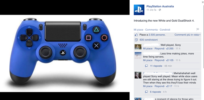 Playstation, #TheDress: i geni del marketing (e non solo) sempre sul pezzo, #thedress, brand #thedress, meme #thedress, white and gold, black and blue, #whiteandgold #blackandblue,