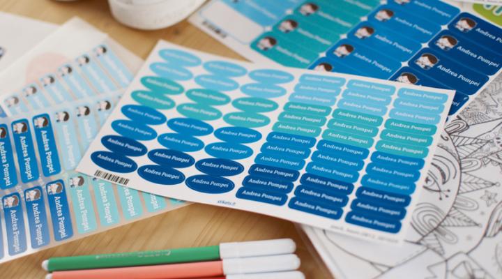 Etichette personalizzate Stikets per materiale scolastico, scarpe e vestiti